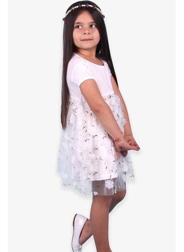 Breeze Kız Çocuk Elbise Nakışlı Çiçekli Ekru (4-9 Yaş) Ekru